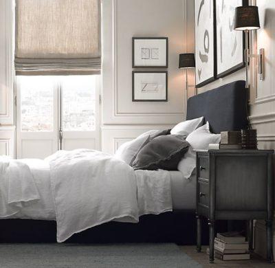 Naturel vouwgordijnen slaapkamer