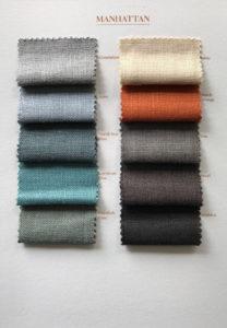 Stalenkaart met linnen stoffen in Manhattan kwaliteit