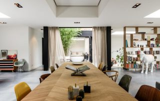 Long wooden table in the living room