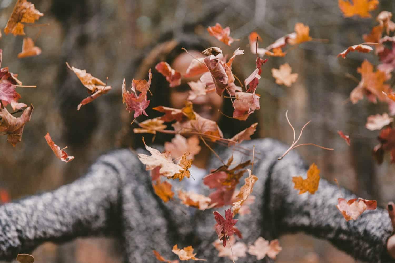 Herfstbladeren gooien