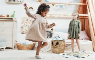 girls playing inside the playroom