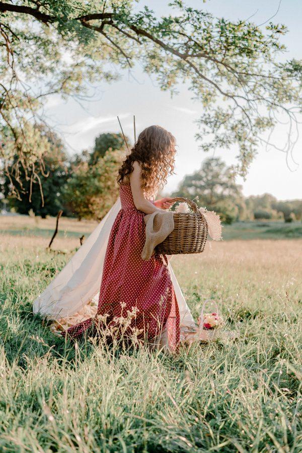 Vrouw met picknick mand in een veld